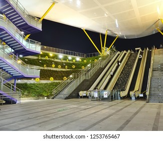 KAOHSIUNG, TAIWAN -- DECEMBER 1, 2018: The exit and entry of the modern Central Park Station of the Kaohsiung Mass Rapid Transit system.