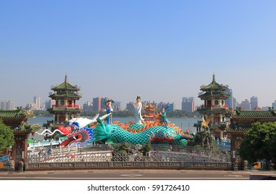 KAOHSIUNG TAIWAN - DECEMBER 14, 2016: Unidentified people visit Spring and Autumn pavilion Lotus Pond.