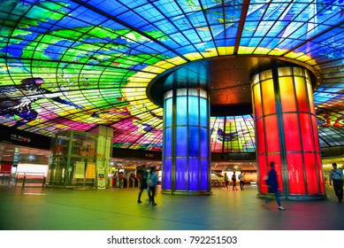 Kaohsiung, Taiwan - DECEMBER 27, 2017: Vibrant Colors of the Dome of Light at MRT Formosa Boulevard Station
