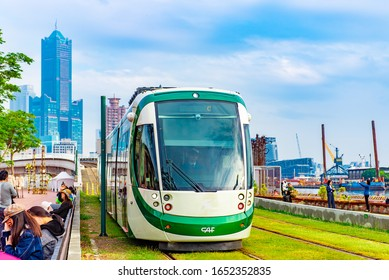 KAOHSIUNG, TAIWAN - DECEMBER 29, 2019 : The Circular light rail is a light rail line in Kaohsiung, Taiwan, operated by Kaohsiung Rapid Transit. Kaohsiung City is a city in southern Taiwan.