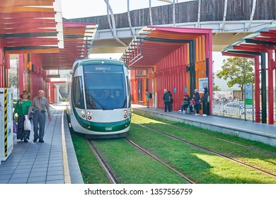 Kaohsiung, Taiwan - December 3, 2018: People waiting for Lizihnei light monorail train which drive in circle of Kaohsiung Kaohsiung city, Taiwan.