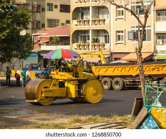 Kaohsiung, Taiwan - December 30 2015: Road roller during road-building work in Kaohsiung