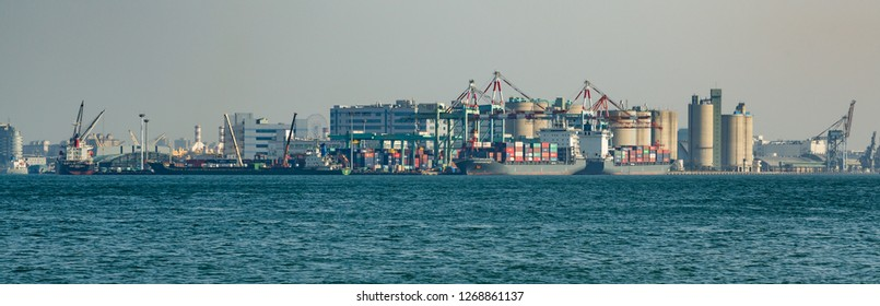 Kaohsiung, Taiwan - December 30 2015: Kaohsiung Industrial Harbour