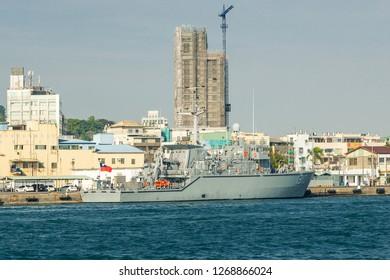 Kaohsiung, Taiwan - December 30 2015: Ship ROCN Yung Jin (MHC-1310), a Yung Jin class coastal minehunters of the Taiwan Navy, mooring in Kaohsiung Harbour