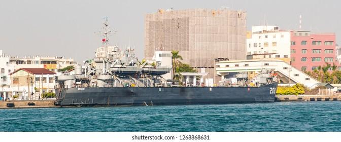 Kaohsiung, Taiwan - December 30 2015: Tank Landing ship ROCN Chong Shun (II) (LST-208) for amphibious warfare, of the Taiwan Navy, mooring in Kaohsiung Harbour