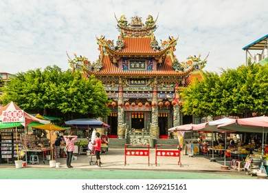 Kaohsiung, Taiwan - December 30 2015: Tzu Chi Palace at the Lotus Pond, opposite site of Tiger and Dragon Temple. It is dedicated to the Baosheng Emperor and the Tiger Gods.
