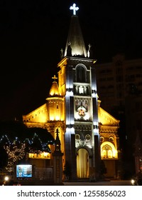 KAOHSIUNG, TAIWAN -- DECEMBER 8, 2018: Night view of the Holy Rosary Cathedral. Built in 1860, it is the oldest Catholic church in Taiwan.