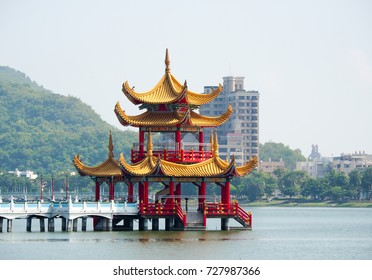 Kaohsiung , Taiwan , famous tourist attraction near Lotus pond , view from Tiger and Dragon temple