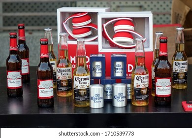 KAOHSIUNG, TAIWAN -- FEBRUARY 19, 2018: A promotional stall sells Budweiser and Corona Beer in bottles and cans.