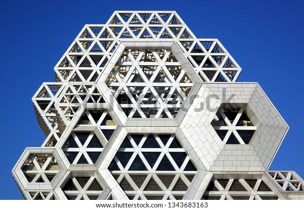 KAOHSIUNG, TAIWAN -- FEBRUARY 7, 2019: A close up view of the outer facade of the new pop music center which is nearing completion.