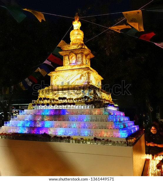 KAOHSIUNG, TAIWAN -- FEBRUARY 9, 2019: A large lantern in the shape of a Buddhist stupa is on display at the Lantern Festival.