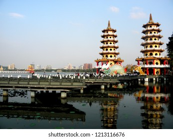 Kaohsiung, Taiwan, January 18, 2018: Dragon Tiger Tower in the Lotus Pond.