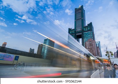 Kaohsiung, Taiwan - JANUARY 25 : View of light rail tram and the skyline in Kaohsiung, Taiwan on JANUARY 25, 2017. The light rail system in Kaohsiung is the first light rail transit in Taiwan.