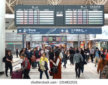 KAOHSIUNG, TAIWAN -- JANUARY 5, 2019: Commuters and travelers crowd the concourse of the Taiwan High Speed Railway station in Zuoying.