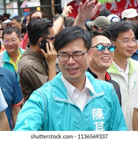 KAOHSIUNG, TAIWAN -- JULY 14, 2017: Mr. Chen Chi-mai, the top contender for the upcoming mayoral election greets supporters at the 2018 Street Art Festival.