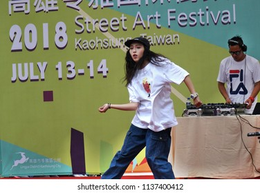 KAOHSIUNG, TAIWAN -- JULY 14, 2017: A female dancer participates in the hip-hop competition at the 2018 Street Art Festival.