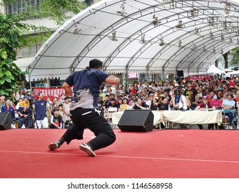KAOHSIUNG, TAIWAN -- JULY 14, 2017: A male dancer participates in the hip-hop competition at the 2018 Street Art Festival.