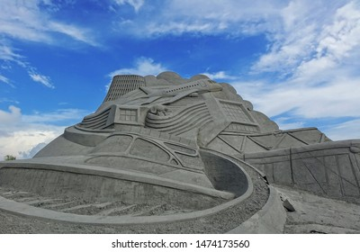 KAOHSIUNG, TAIWAN -- JULY 27, 2019: Sand sculptures at the Black Sand Beach festival on Chijin Island.