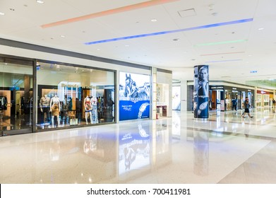 Kaohsiung Taiwan - July 31, 2017: People visit Dream Mall in Kaohsiung Taiwan. Dream Mall is the largest shopping mall in Taiwan and the largest in East Asia.