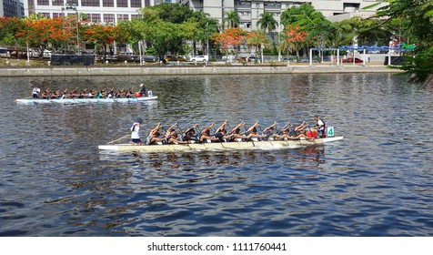 KAOHSIUNG, TAIWAN -- JUNE 10, 2018: Two teams train for the upcoming Dragon Boat Races.
