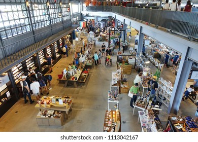 KAOHSIUNG, TAIWAN -- JUNE 10, 2018: An interior view of the recently completed Warehouse Two mall, a converted storage building by the harbor.