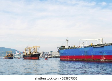 KAOHSIUNG, TAIWAN -- JUNE 11, 2015: A view of the entrance to Kaohsiung Harbor