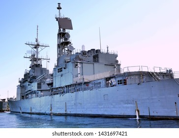 KAOHSIUNG, TAIWAN -- JUNE 2, 2019: A guided missile destroyer of the Taiwan navy is anchored in Kaohsiug Port.
