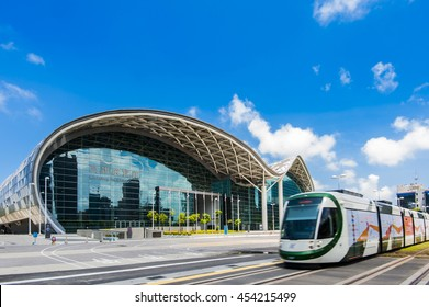 Kaohsiung, Taiwan - June 20 : View of light rail tram and the skyline in Kaohsiung, Taiwan on June 20, 2016. The light rail system in Kaohsiung is the first light rail transit in Taiwan.