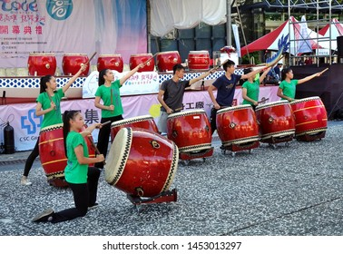 KAOHSIUNG, TAIWAN -- JUNE 7, 2019: A percussion group rehearses for the opening ceremony of the Dragon Boat Festival.