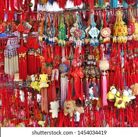KAOHSIUNG, TAIWAN -- JUNE 7, 2019: A street vendor sells scented sachets in various shapes and designs.