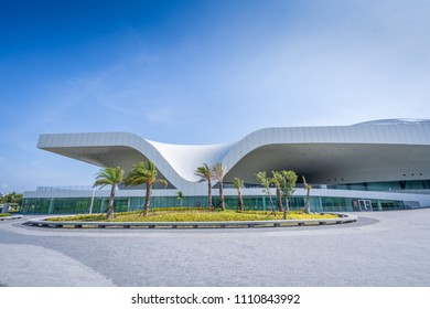 KAOHSIUNG, TAIWAN -- June 8, 2018: A panoramic view of the recently completed National Center for the Performing Arts located in the Weiwuying Metropolitan Park