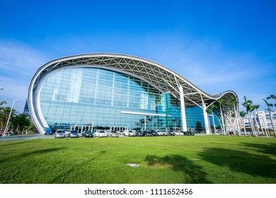 Kaohsiung, Taiwan - June 8, 2018 : Kaohsiung Exhibition Center modern building