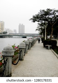 Kaohsiung, Taiwan, Kaohsiung Love River, 01.10.2019 - Like to exercise at the river, walking in Kaohsiung
