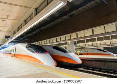 KAOHSIUNG, TAIWAN - MARCH 10, 2018: The Taiwan High Speed Rail at Zuoying Station heading to Taipei capital city, Taiwan