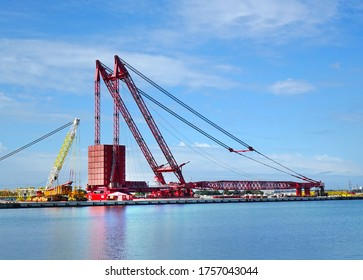 KAOHSIUNG, TAIWAN -- MARCH 15, 2019: A large container facility is being constructed at the Xinda fishing port.