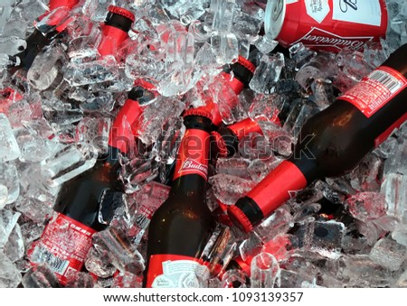 KAOHSIUNG, TAIWAN -- MARCH 2, 2018: An outdoor vendor sells Budweiser beer chilled in a bucket with lots of ice.