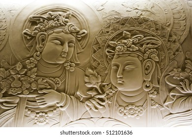 Kaohsiung, Taiwan - March 2016- Bas relief of buddha, in mendut buddhist monastery.