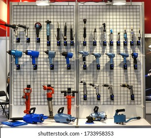 KAOHSIUNG, TAIWAN -- MARCH 30, 2019: Specialized power tools are on display at a booth at an industrial fair.