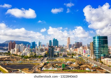 KAOHSIUNG, TAIWAN - MAY 04 2017: Aerial View of downtown Kaohsiung city district on May 04, 2017 in Kaohsiung