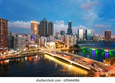 KAOHSIUNG, TAIWAN - MAY 04 2017: View of downtown Kaohsiung financial district on May 04, 2017 in Kaohsiung