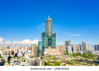 KAOHSIUNG, TAIWAN - MAY 04 2019: Aerial View of downtown Kaohsiung city district on May 04, 2019 in Kaohsiung