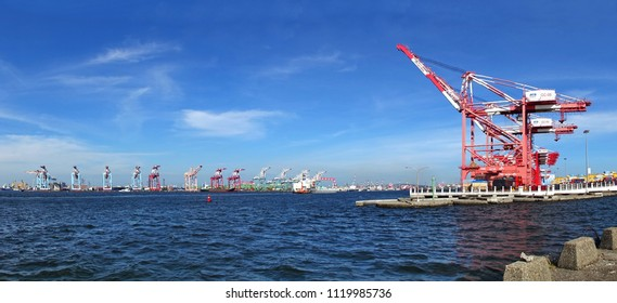 KAOHSIUNG, TAIWAN -- MAY 26, 2018: A panoramic view of the Kaohsiung container port, a major trading hub for Taiwan.