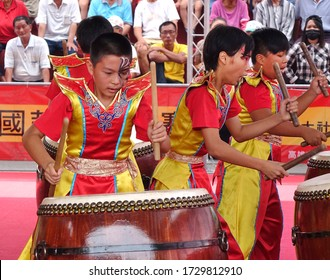 KAOHSIUNG, TAIWAN -- MAY 26, 2019: A junior high school percussion group performs at the Qing Yun Temple in the Dashe District of Kaohsiung City.