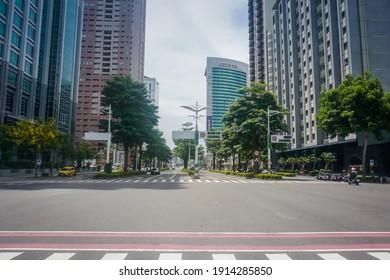 Kaohsiung, Taiwan - May 28, 2019: Urban street landscape