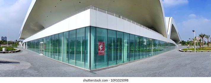 KAOHSIUNG, TAIWAN -- MAY 5, 2018: A panoramic view of the recently completed National Center for the Performing Arts located in the Weiwuying Metropolitan Park