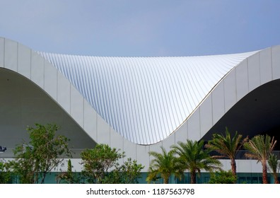 KAOHSIUNG, TAIWAN -- MAY 5, 2018: A detail of the recently completed National Center for the Performing Arts located in the Weiwuying Metropolitan Park