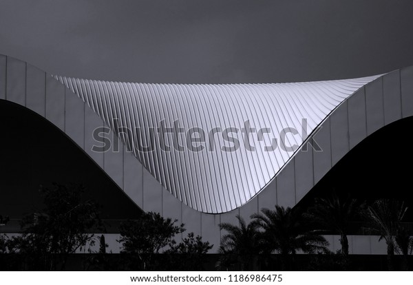 KAOHSIUNG, TAIWAN -- MAY 5, 2018: Detail view of the recently completed National Center for the Performing Arts located in the Weiwuying Metropolitan Park