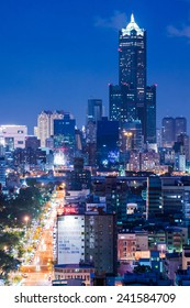Kaohsiung, Taiwan, May,11,2014 : Beautiful Cityscape of Kaohsiung at Night. A Famous  Night Scene for Tourists.