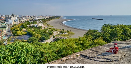 KAOHSIUNG, TAIWAN - NOVEMBER 1, 2017: View of the fort in Kaohsiung on 1 November 2017 in Kaohsiung, Taiwan. Qihou Fort or Qihou Battery is an artillery fort from the end of the 19th century.