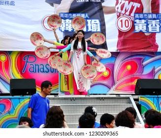 KAOHSIUNG, TAIWAN -- NOVEMBER 10, 2018: Vietnamese new immigrants to Taiwan perform a dance at an election rally.
